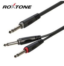 Roxtone RAYC100L1 6,3 Sztereó Jack – 2×6,3Monó Jack kábel, 1m