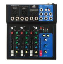 Voice-Kraft Vkraft-i4 Keverőpult, 2 Monó/1 Sztereó csatorna, USB lejátszó, Bluetooth
