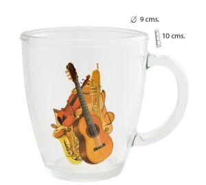 Átlátszó, színes hangszer mintás üvegpohár 250 ml Zenei ajándéktárgy