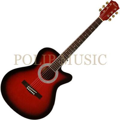 Aiersi SG026C-38 Red Sunb. mini jumbo akusztikus gitár