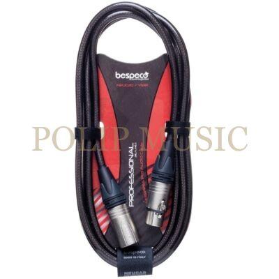 Bespeco NCMB2000T Fekete-Transparent mikrofonkábel Neutrik csatlakozókkal 20 m