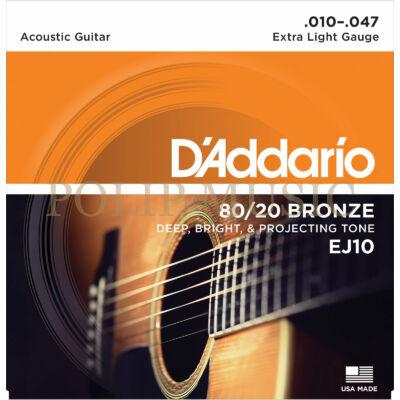 D'Addario EJ10 80/20 Bronze Extra Light 010-047 akusztikus/western gitárhoz