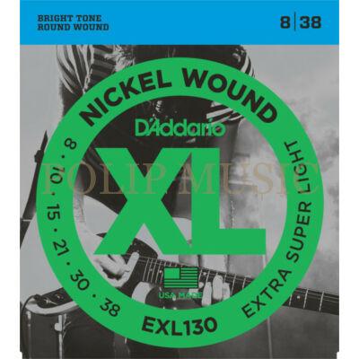 D'Addario EXL130 Extra Super Light 008-038 elektromos gitárhúr