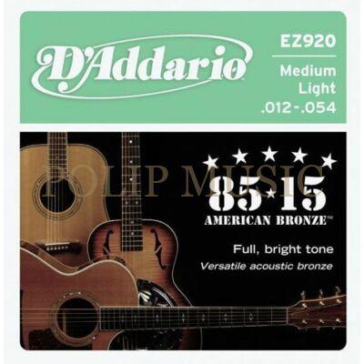 D'Addario EZ920 Medium Light 012-054 akusztikus húr