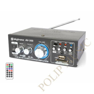 Skytronic AV-360 USB/SD mini hifi erősítő, FM rádió 2x40W