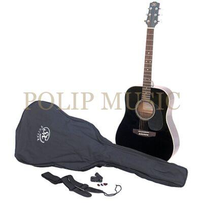 SX SA-1 BK akusztikus gitár szett