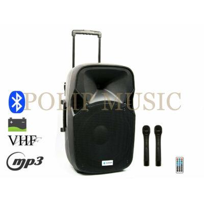 Thunder ACCU-15 800W akkumulátoros hordozható hangfal (2xMik + MP3 + Bluetooth + FM)
