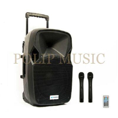Thunder Audio ACCU12 600W 2xMik + MP3 + Bluetooth + FM akkumulátoros hordozható hangfal