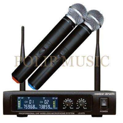 Voice-Kraft LS-670 UHF kézi mikrofon szett, 2 db mikrofonnal
