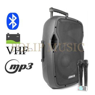 Vonyx AP1200ACCU 600w 2xMik + MP3 + Bluetooth akkumulátoros hordozható hangfal