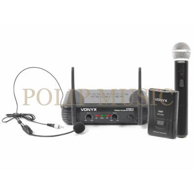 Vonyx STWM-712C VHF vezeték nélküli mikrofon szett (1 db KÉZI + 1 db FEJMIKROFON)