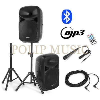 Vonyx VPS102A 600W (25 cm) aktív + passzív hangfal szett állványokkal (MP3 + BLUETOOTH)