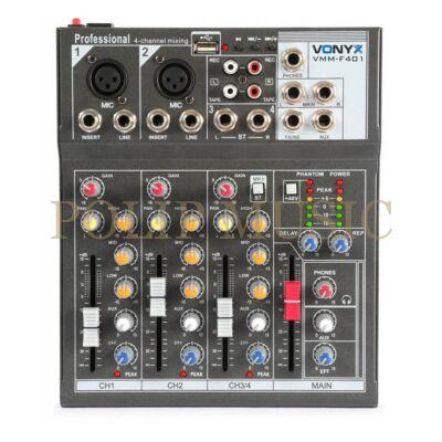 Vonyx VMM-F401 - 4 csatornás zenekari keverő, MP3 + Effekt